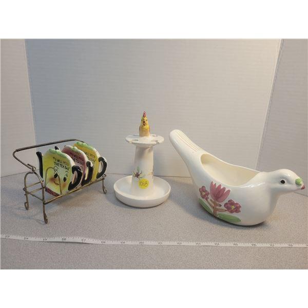 Mid century tea bag holders, spoon holder