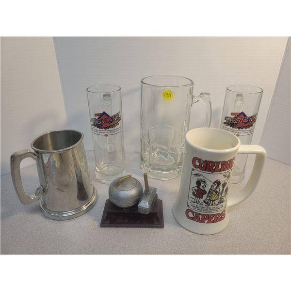 Beer Steins & curling trophy - 6 pieces