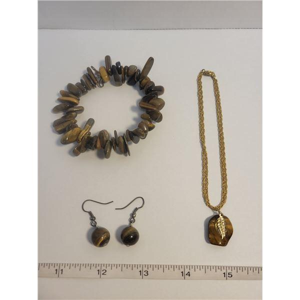 Tiger eye necklace, earrings, bracelet