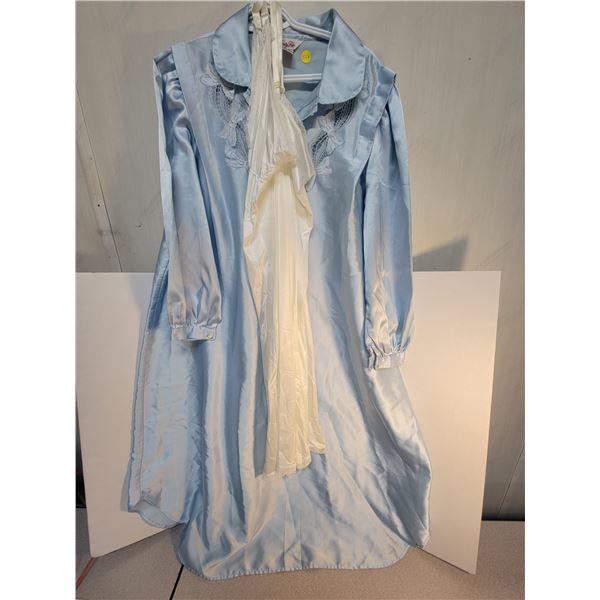 Satin dressing gown & vintage slip size large