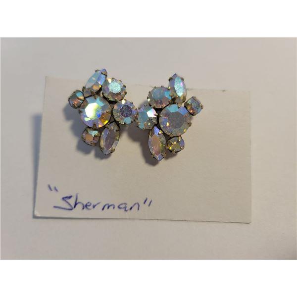 1 pair signed 'Sherman' earrings