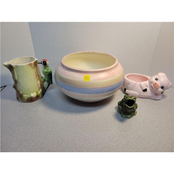 4 vintage ceramics - frog, pig, bowl, wood pecker *one piece from Czechoslovakia*