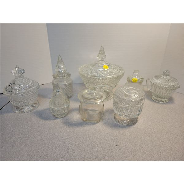 8 lidded glass dishes
