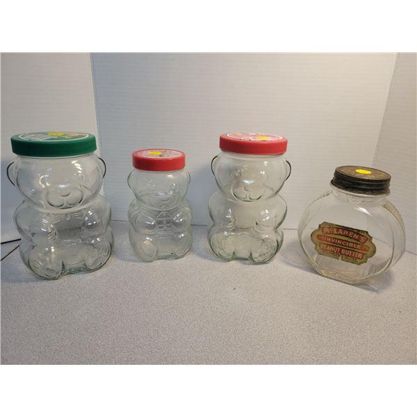 4 old peanut butter jars