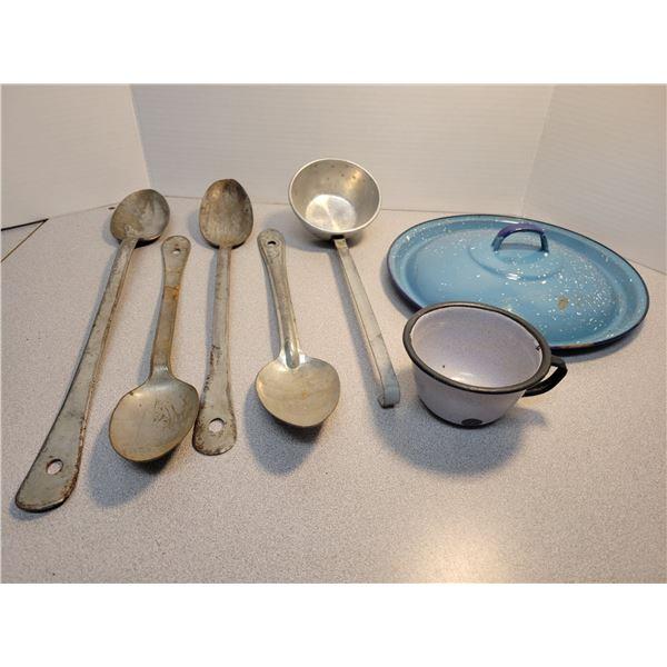 serving spoons, ladle, enamel cup - 7 pieces
