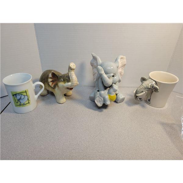 2 elephant mugs, 2 ceramic (one piggy bank)