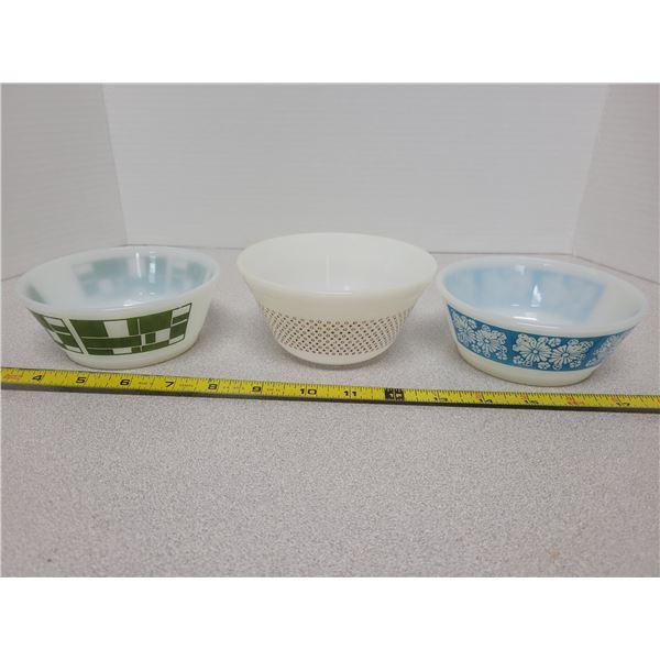 3 Fire King bowls
