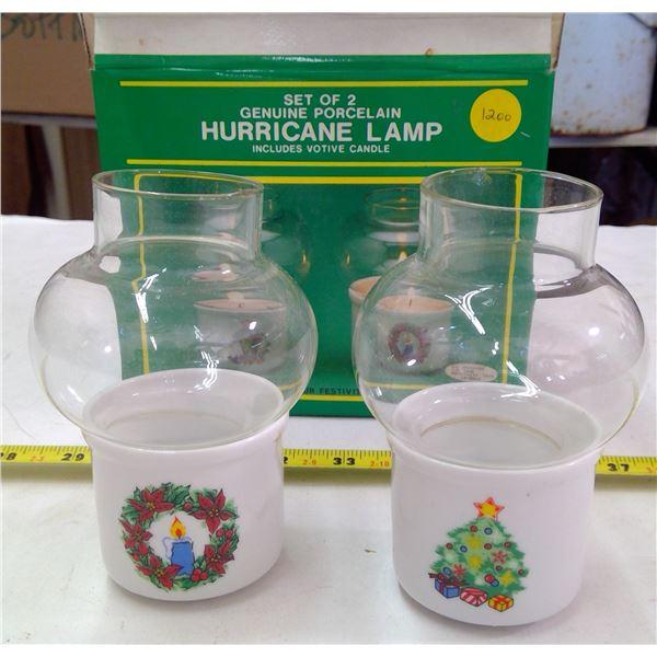 Set of 2 - Porcelain Hurricane Lamps