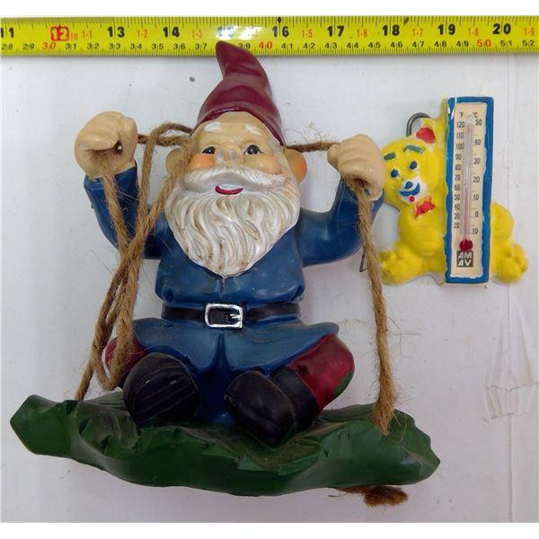 Garden Gnome & Thermometer