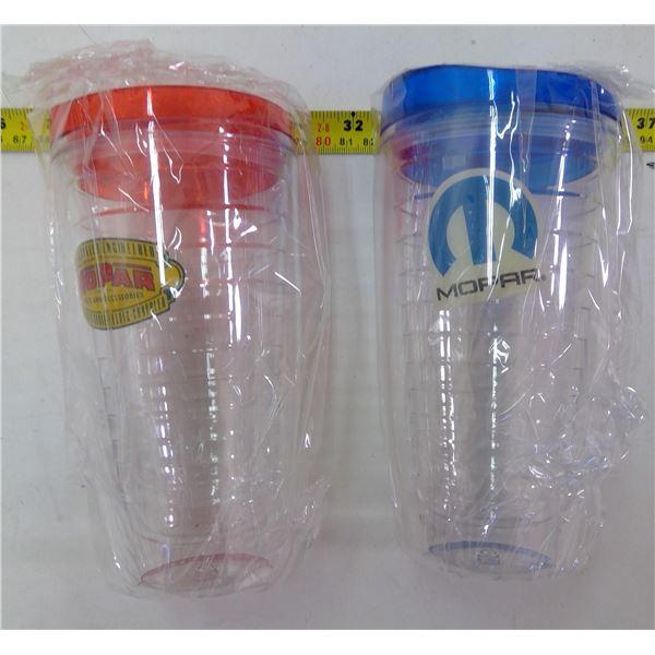 Set of 2 - Mopar Plastic Drink Tumblers with Lids