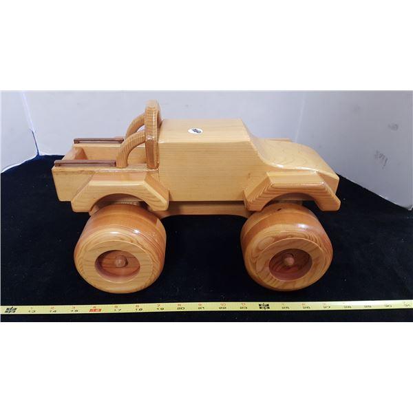 "Hand Made Wood 4 X 4 Truck 12"" Long"