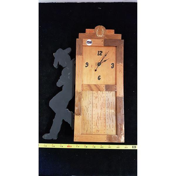 "Cowboy Wooden Wall Clock 12"" Tall"