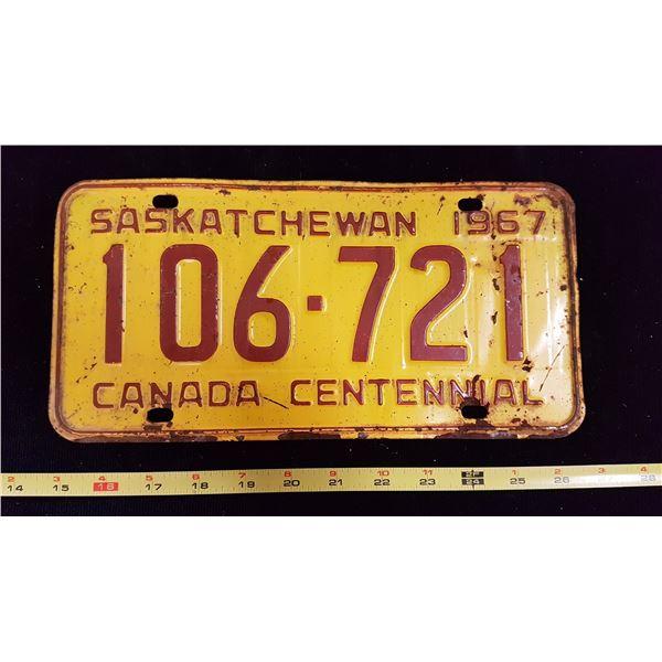1967 Sask. Centennial License Plate