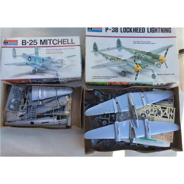 Monogram B25 Mitchell/ P38 Lightning Model Kits. Complete