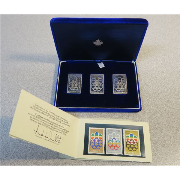 1976 Olympic Silver Stamp Set - 3 Metal Satmps and 3 Regular Stamps