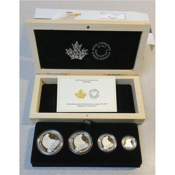 2015 Fine Silver Fractional Canadian Coin Set - 4 Piece - Bald Eagle
