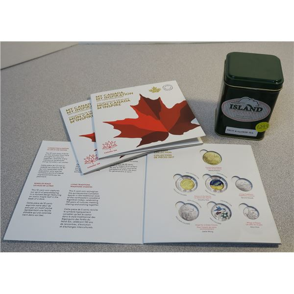 """Island Chocolates Tin and 3X Empty """"My Canada, My Inspiration"""" Coin Collector Sleeves"""