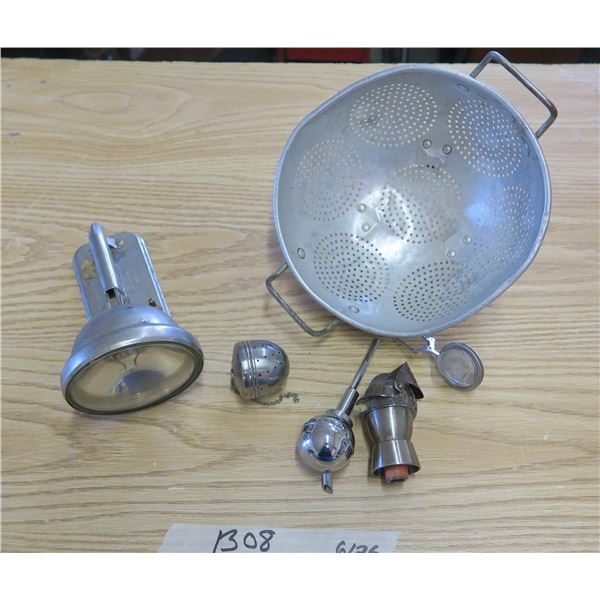 Flashlight Lamp Piece, Metal Strainer and other kitchen Items