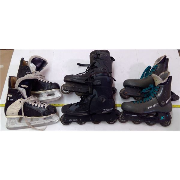 Lot of 1 Pair CCM Skates & 2 Pairs Roller Blades - sizes unknown