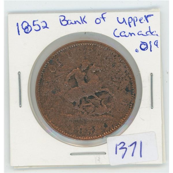 1852 Bank Of Upper Canada 1 Cent Coin