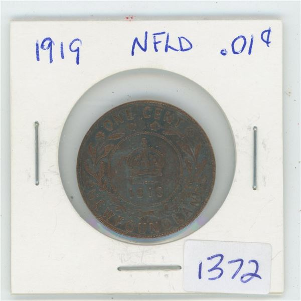 1919 NFLD 1 Cent Coin