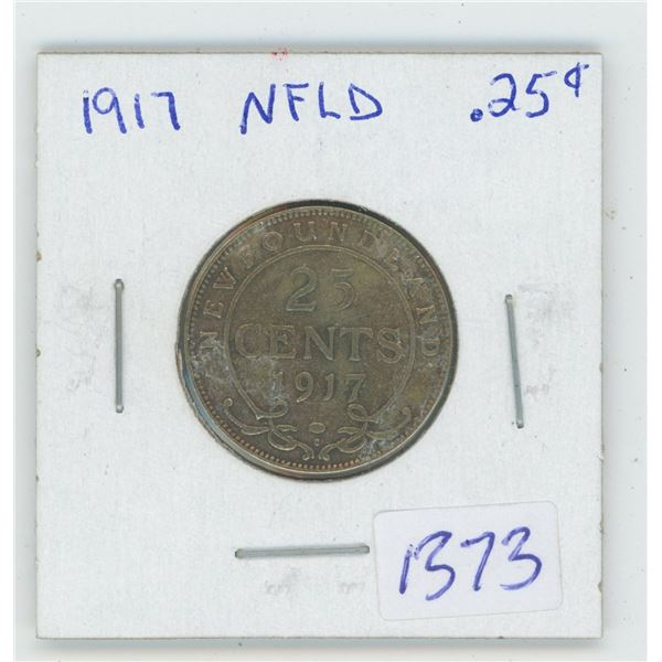 1917 NFLD 25 Cent Coin