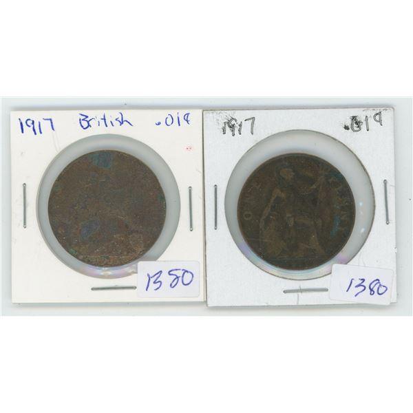 2 X 1917 British Pennies