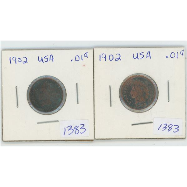 2 X 1902 American 1 Cent Coins
