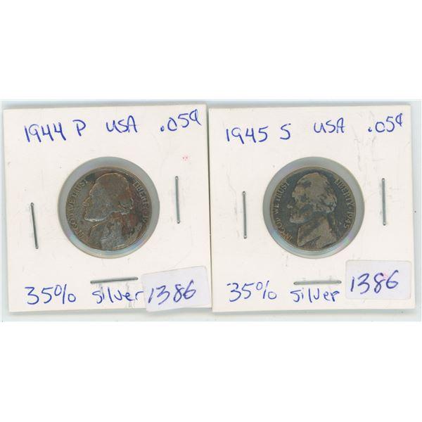 1944? & 1945 USA 5 Cent Coins