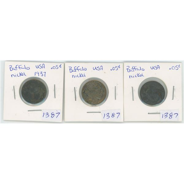 2 X ? USA Buffalo  5 Cent Coins & 1 1937 USA Buffalo 5 Cent Coin