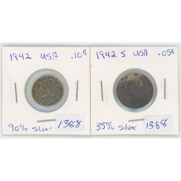 1942 5 Cent & 10 Cent USA Coins