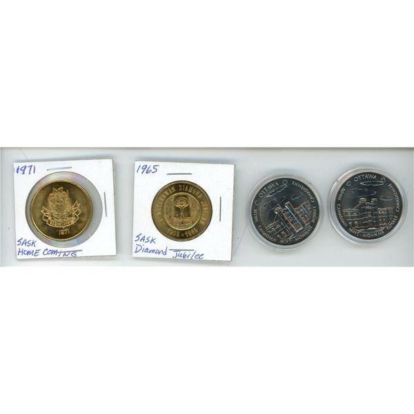Lot of 4 Sask. & Royal Canadian Mint Tokens