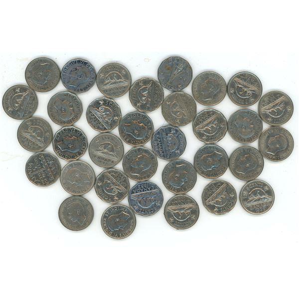 Lot of 33 1937 - 1952 CDN 5 Cent pcs.