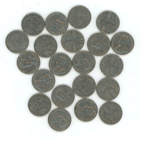 Lot of 21 1922-1936 CDN 5 cent