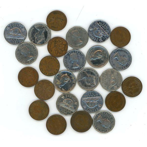 various CDN 1 and 5 cent