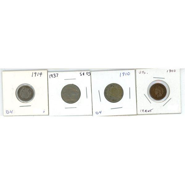 US Set 1/5/5/10 cent 1900/1910/1937/1914 (G)