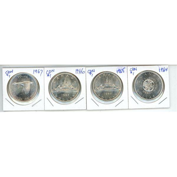 4 CDN Silver Dollars 1964/1965/1966/1967 AU to UNC