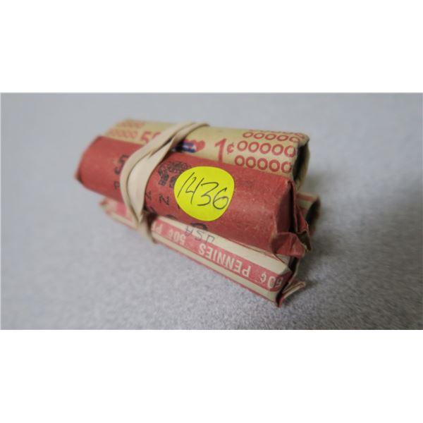 USA Pennies X4 Fifty Cent Rolls