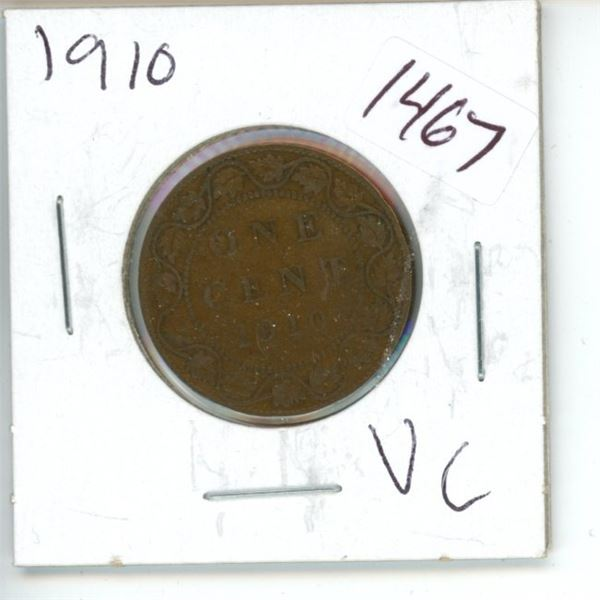 1910 Canadian 1 Cent Coin