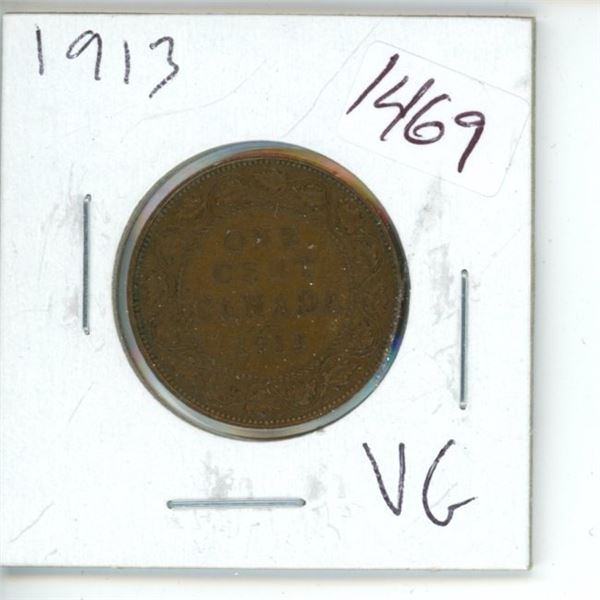 1913 Canadian 1 Cent Coin
