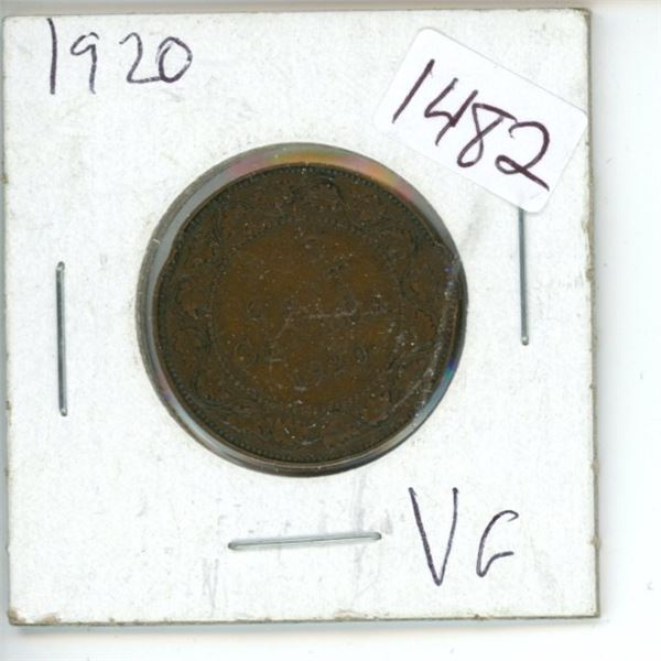 1920 Canadian 1 Cent Coin