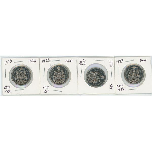 Lot of 4 1973 CAD 50 Cent Pcs.