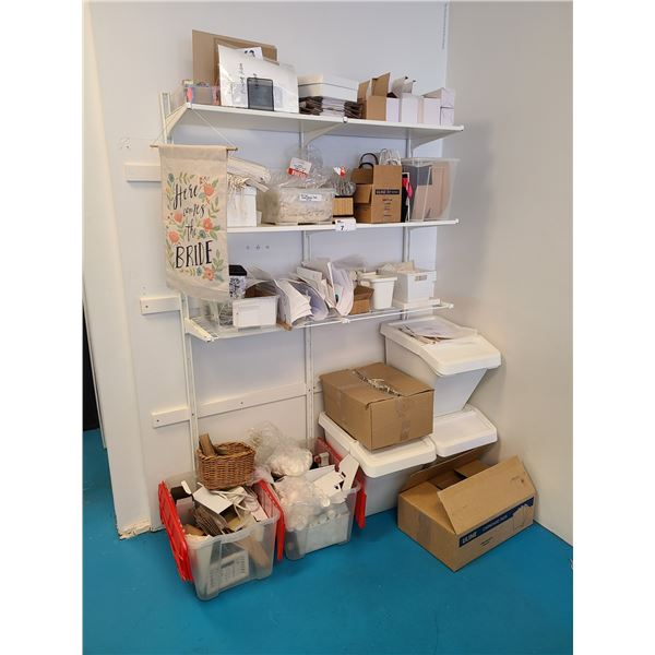 CONTENTS OF SHIPPING CORNER INCLUDING 3 TIER ADJUSTABLE SHELF, 3 PAPER ROLL DISPENSERS WITH PAPER,