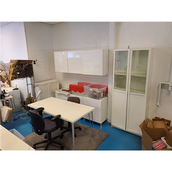 """CONTENTS OF SHIPPING OFFICE INCLUDING WHITE DESK 59""""W X 30""""D X 29""""H, 2 DOOR GLASS FRONT STORAGE"""