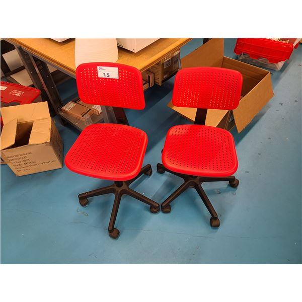 "2 RED MODERN MOBILE OFFICE CHAIRS & DARK WOOD 2 DRAWER 39""W X 15.5""D X 18""H STORAGE BENCH"