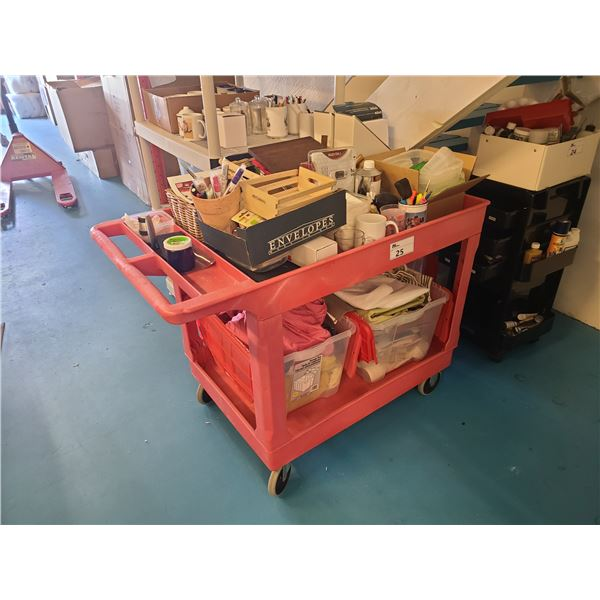 RED 2 TIER PLASTIC MOBILE WAREHOUSE CART WITH ART SUPPLY CONTENTS