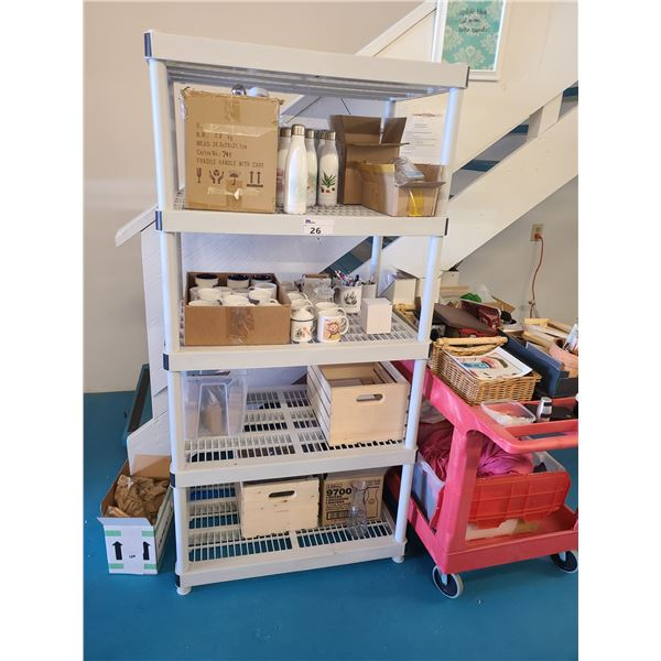 5 TIER PLASTIC STORAGE SHELF WITH ASSORTED PROMOTIONAL PRINTING PRODUCTS
