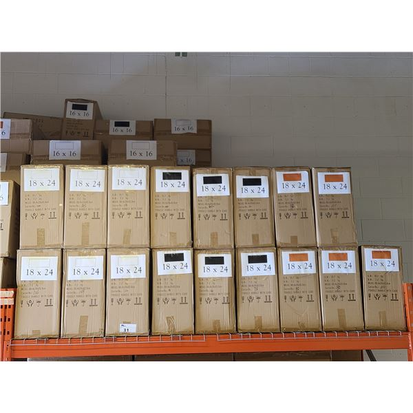 BAY OF APPROXIMATELY 17 BOXES OF 18 X 24 & 18 BOXES OF 16 X 16 ASSORTED NATURAL, WHITE, BLACK