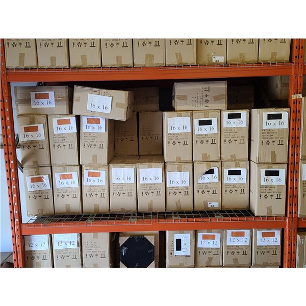 BAY OF APPROXIMATELY 36 BOXES OF 16 X 16 ASSORTED NATURAL, WHITE, BLACK NEW ZEALAND PINE