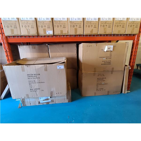 BAY OF APPROXIMATELY 9 LARGE BOXES OF 24 X 36 ASSORTED NATURAL NEW ZEALAND PINE